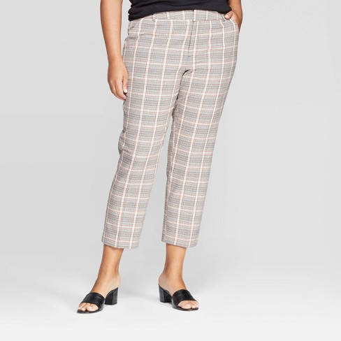 Women's Plus Size Plaid Ankle Pants - Ava & Viv™ Gray - image 1 of 2