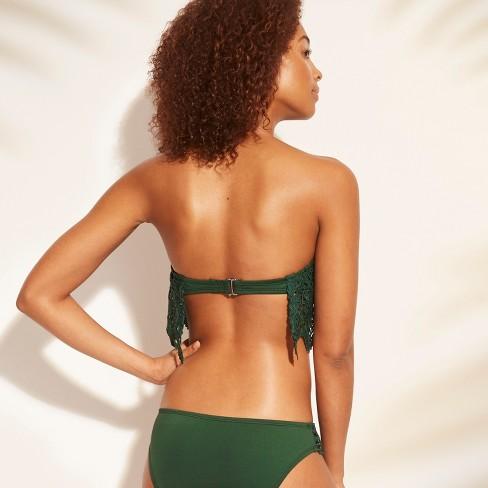 4686d40f6cb Women s Crochet Bandeau Flounce Bikini Top - Shade   Shore™ Forest Green    Target