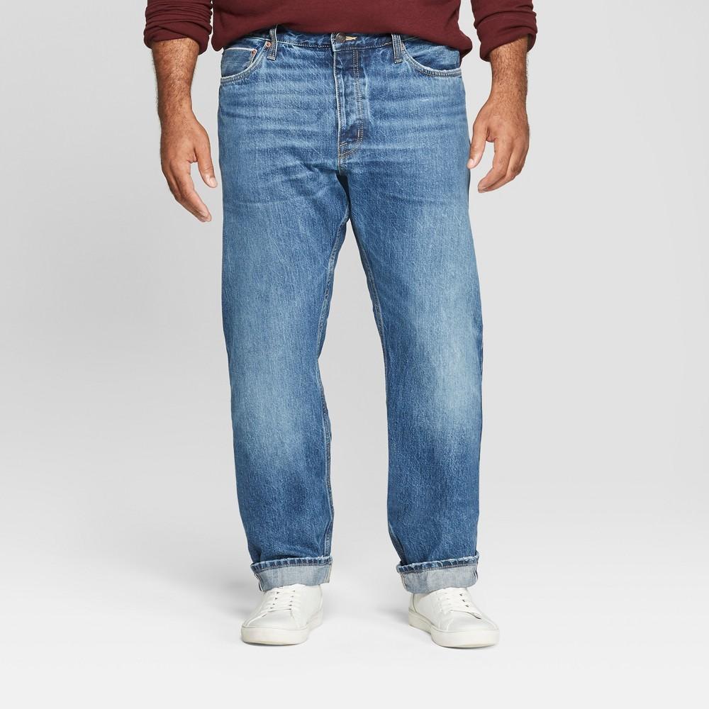 Men's Tall Slim Fit Jeans - Goodfellow & Co Medium Wash 32x36, Blue