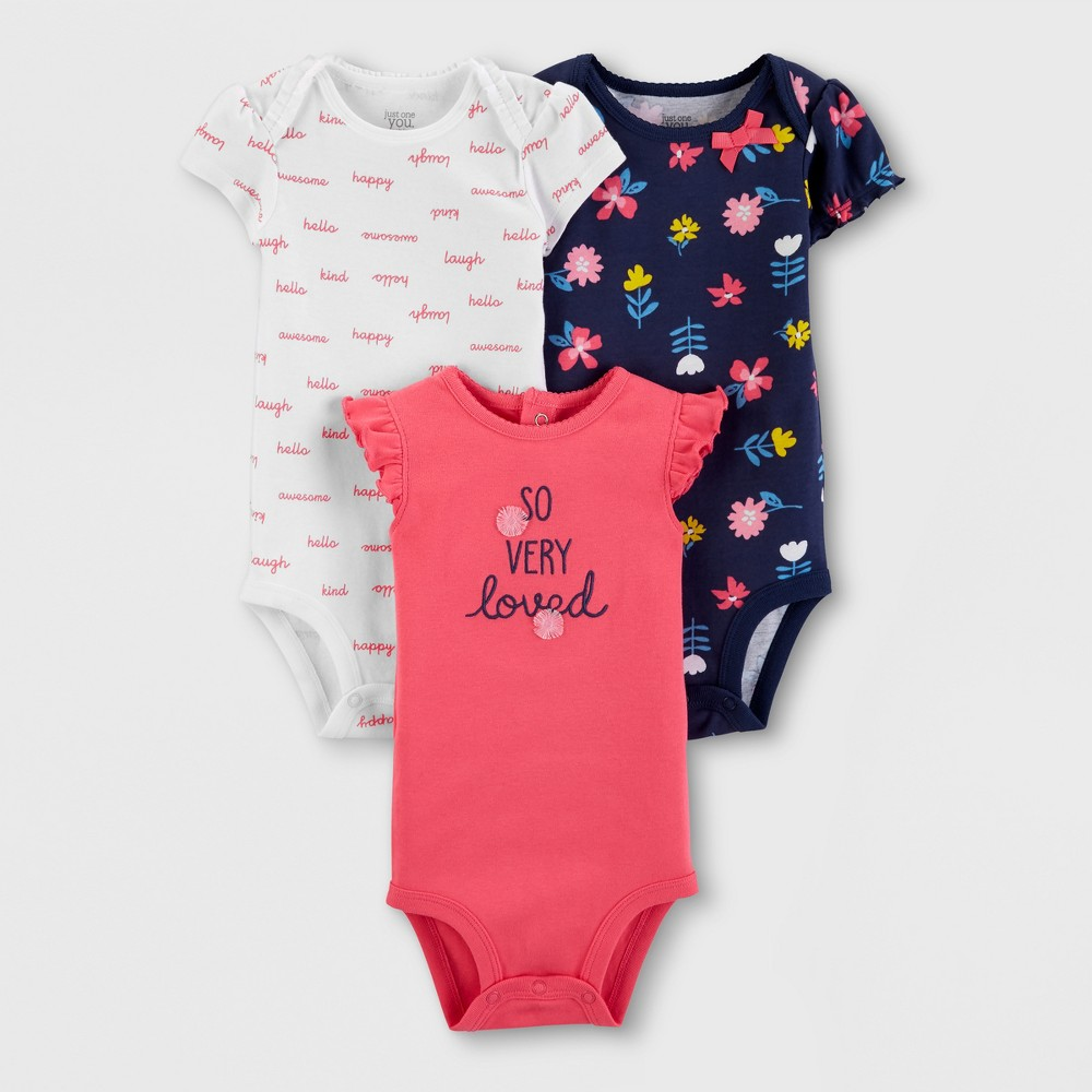 Baby Girls' 3pk Bodysuits - Just One You made by carter's Navy/White/Peach 6M, Blue