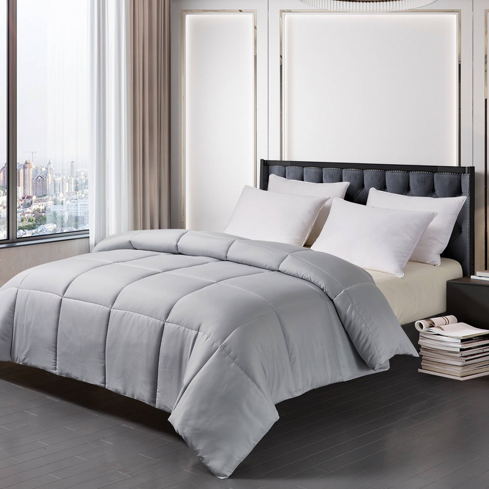 Image of Microfiber Down Alternative Comforter (King) Platinum, White