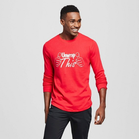 Men's Ugly Holiday Thermal Shirt Unwrap This Red XXL - image 1 of 1