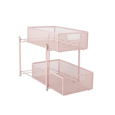 MIND READER Metal Mesh Heavy Duty Organizer [2 TIER] Slide Out Basket Drawer For Kitchen, Bathroom, Office Desk (BLACK)