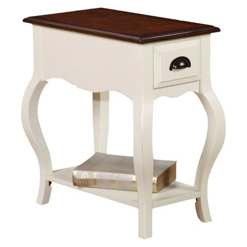 End Table Off White Dark Oak - image 1 of 2