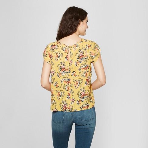 4e2c7ad42b5 Women s Floral Print Short Sleeve Cutout Top - Lily Star (Juniors ) Mustard  XL   Target