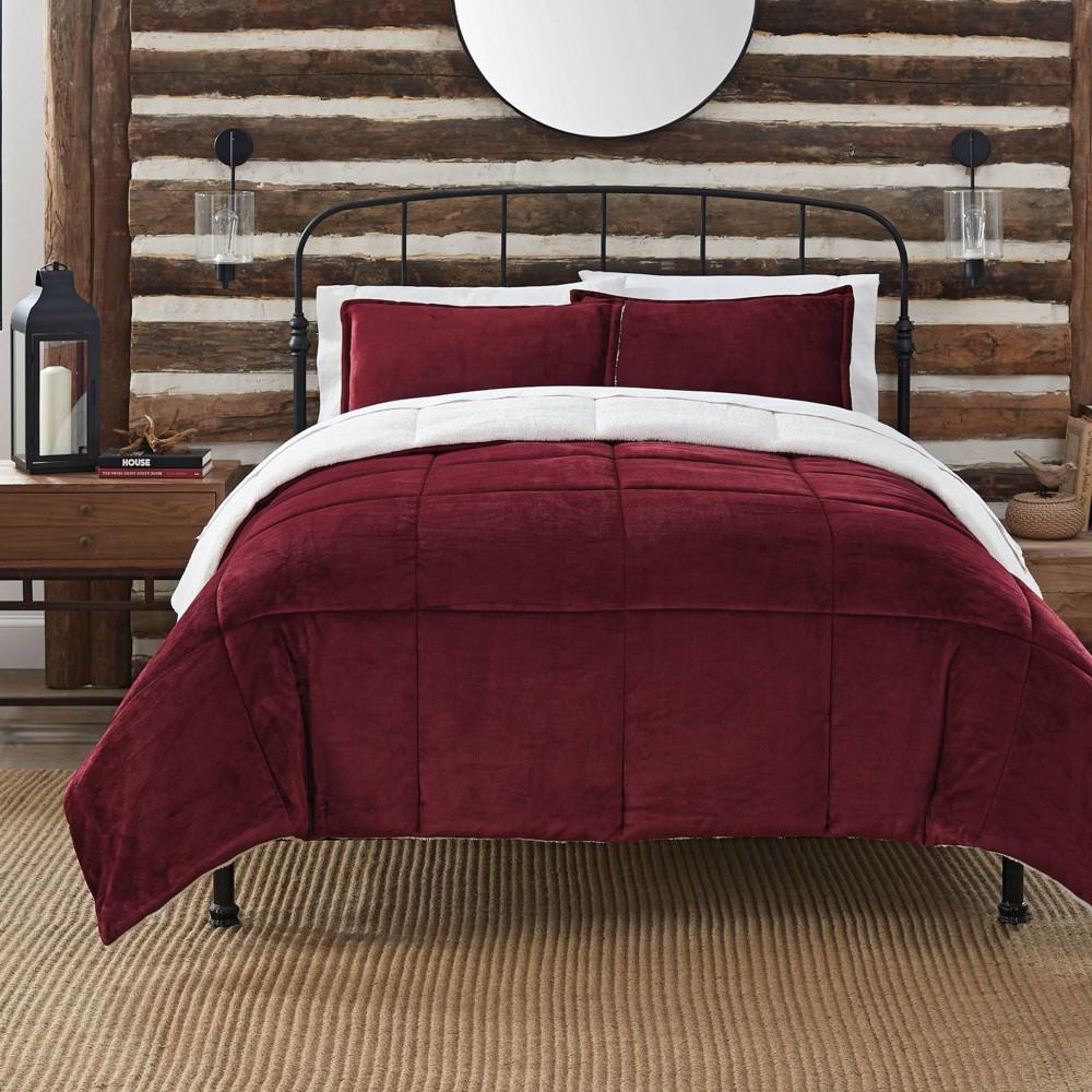 Twin 2pc Cozy Plush Comforter Set Red Serta