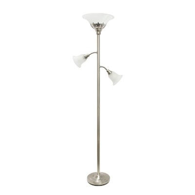 3 Light Floor Lamp with Scalloped Glass Shade Brushed Nickel - Elegant Designs