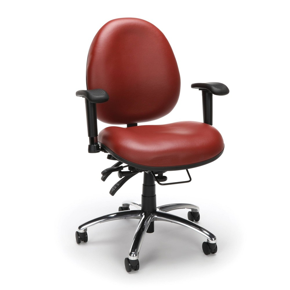 Image of 24 Hour Big and Tall Ergonomic Anti Bacterial Vinyl Computer Swivel Task Chair Wine - OFM
