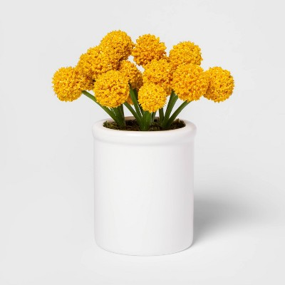 "8.5"" x 5"" Artificial Billy Ball Arrangement in Ceramic Pot Yellow/White - Threshold™"