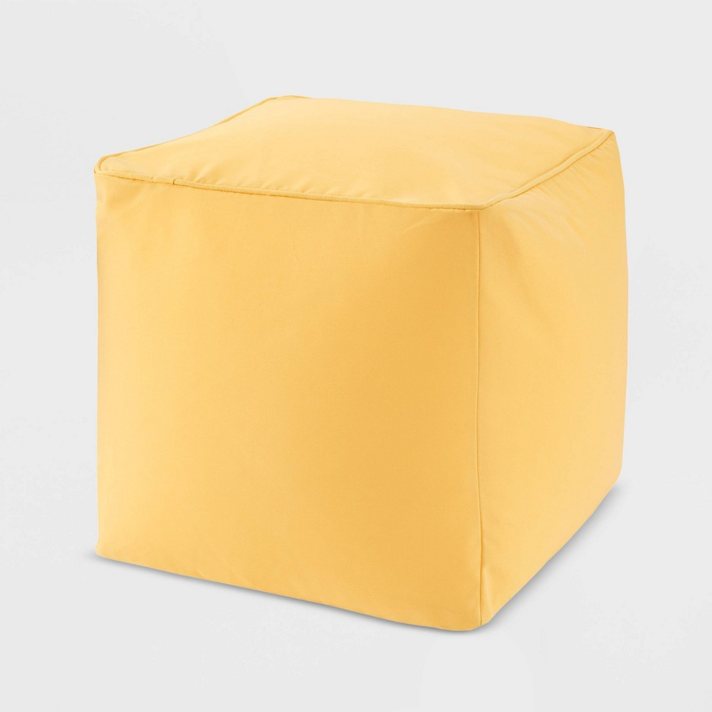 "Image of ""18"""" x 18"""" x 18"""" Grove Solid 3M Scotchgard Outdoor Square Pouf Yellow"""