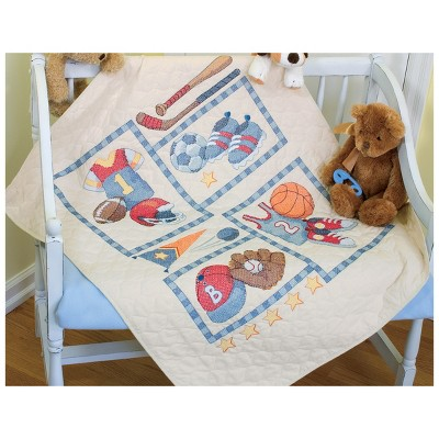 """Dimensions Baby Hugs Quilt Stamped Cross Stitch Kit 34""""X43""""-Little Sports"""