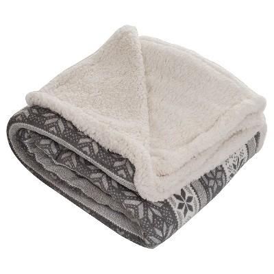 Gray/White Fleece Sherpa Blanket Throw Blanket - Yorkshire Home