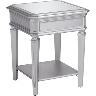 "55 Downing Street Aurora 20"" Wide Mirrored and Silver Traditional Side Table"