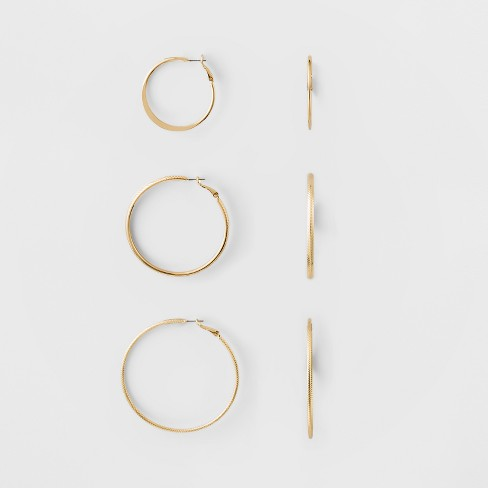 Hoop Earring Set 3ct - A New Day™ Gold - image 1 of 1