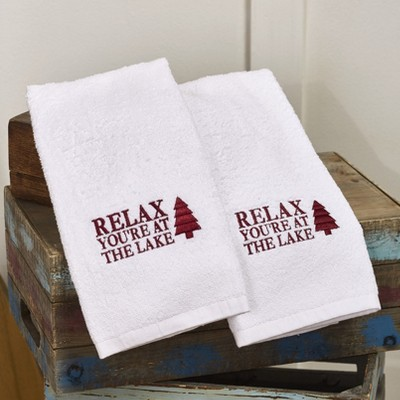 Lakeside Cabin Lodge White Hand Towels - Relax, You're at the Lake - Set of 2