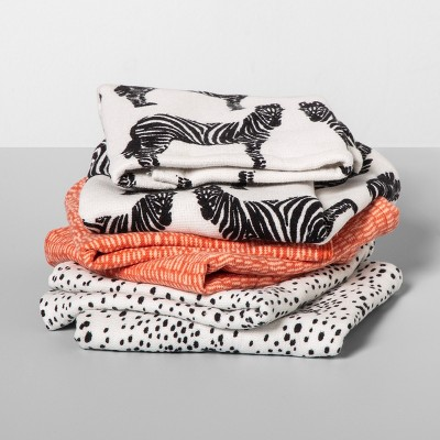 6pk Zebra/Polka Dot Wash Pack White/Coral - Opalhouse™