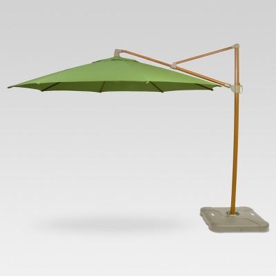 11' Offset Umbrella - Green - Medium Faux Wood Finish - Threshold™