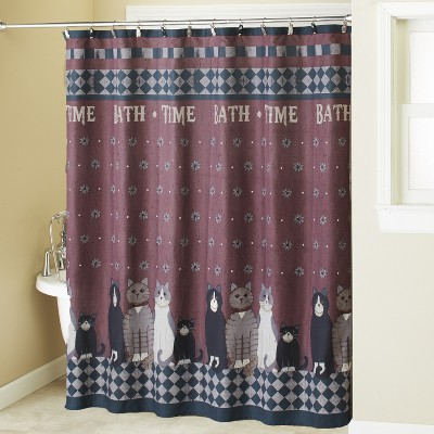 Lakeside Country Cats Bathroom Shower Curtain 12-Ring Holes Top Grommet