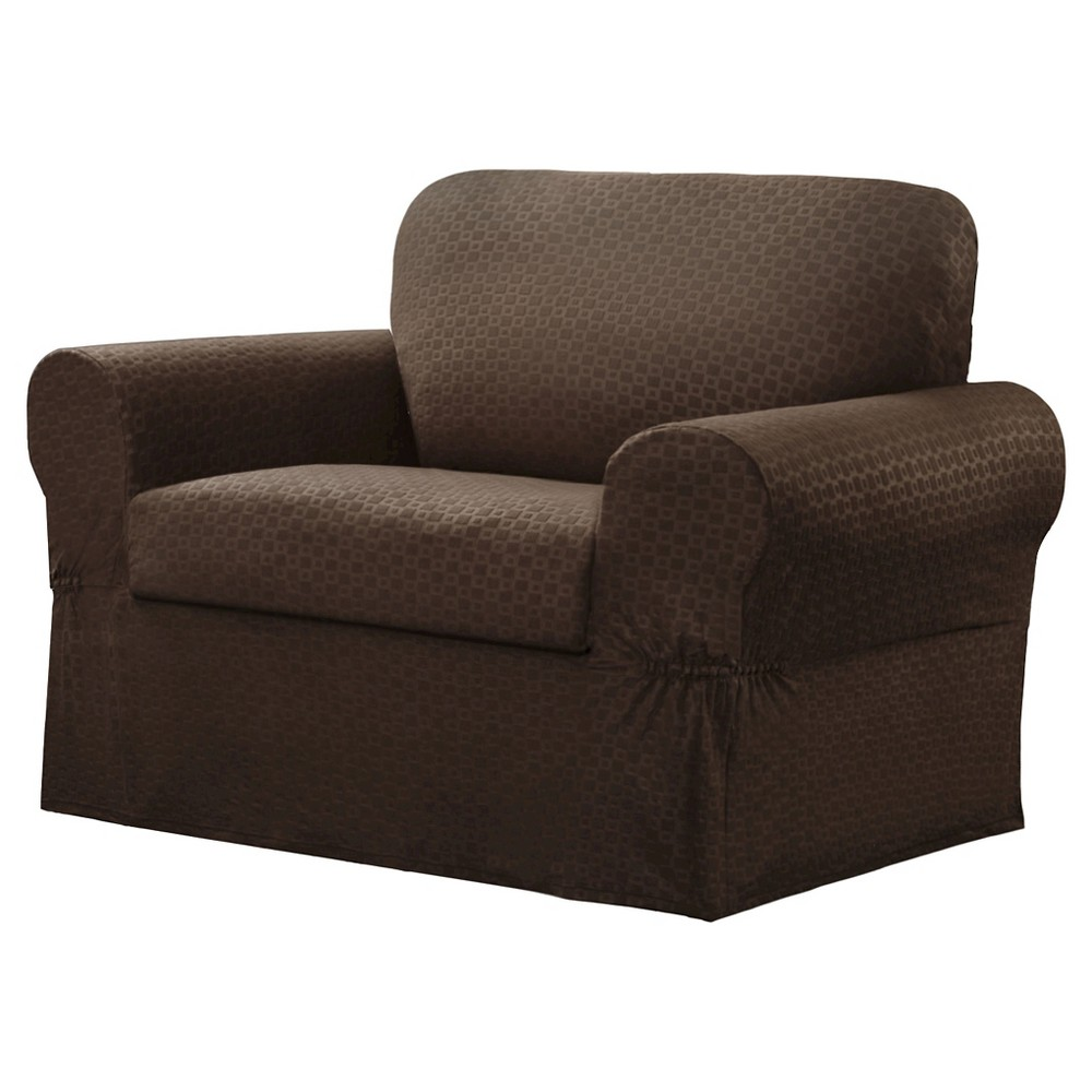 Image of Chocolate Conrad Chair Slipcover (2 Piece) - Maytex