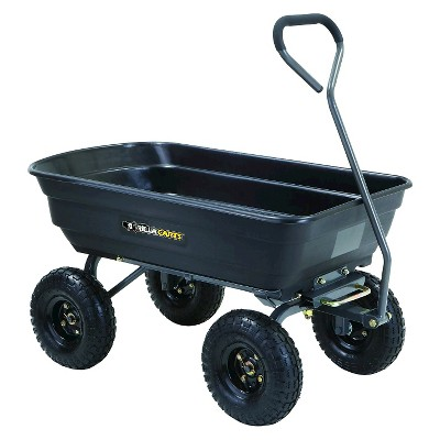 Gorilla Carts Poly Garden Dump Cart with Steel Frame and Pneumatic Tires, 600-Pound Capacity