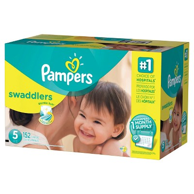 Pampers Swaddlers Diapers One Month Supply Pack Size 5 (152 ct)