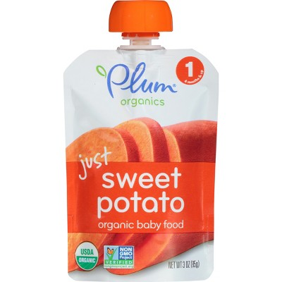 Plum Organics Stage 1 Baby Food Pouch - Just Sweet Potato Baby Food 3oz