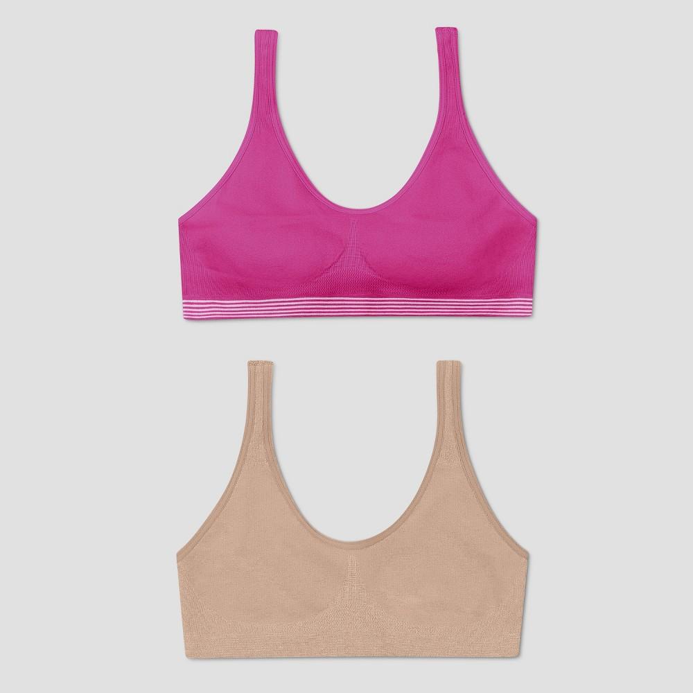 Hanes Girls' 2pk Get Cozy Seamless Pullover Bra - Pink/Beige XL