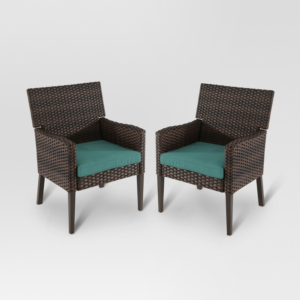 Halsted 2pk Wicker Patio Dining Chair - Turquoise - Threshold