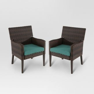 Halsted 2pk Wicker Patio Dining Chair - Turquoise - Threshold™
