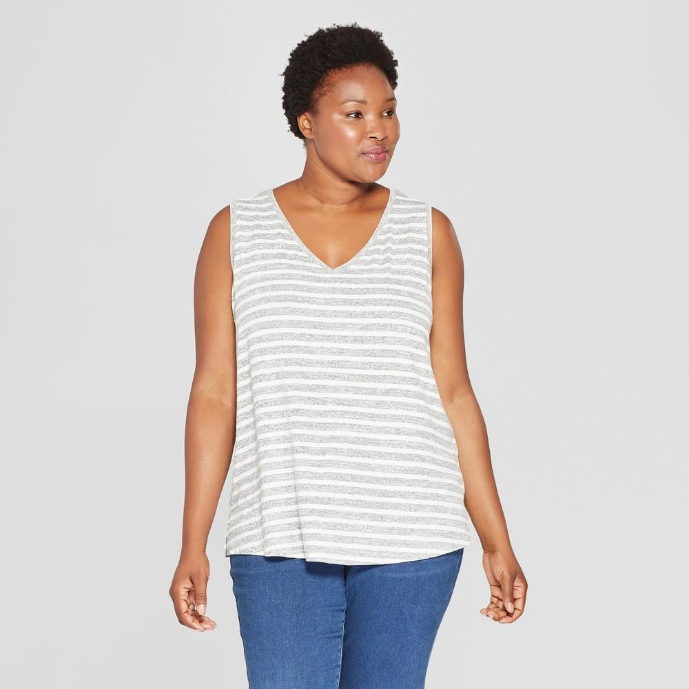 Women's Plus Size Striped V-Neck Tank - Ava & Viv Black/Cream 4X, Gray White
