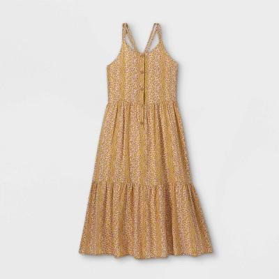 Girls' Button-Front Woven Sleeveless Dress - art class™