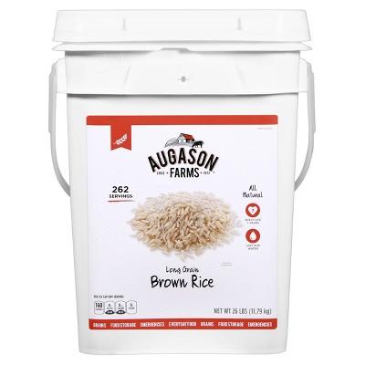 Augason Farms Gluten Free Long Grain Brown Rice Pail - 26lb