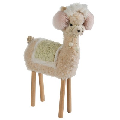 "Northlight 14"" Standing Beige and Pink Llama in Earmuffs Tabletop Christmas Decoration"