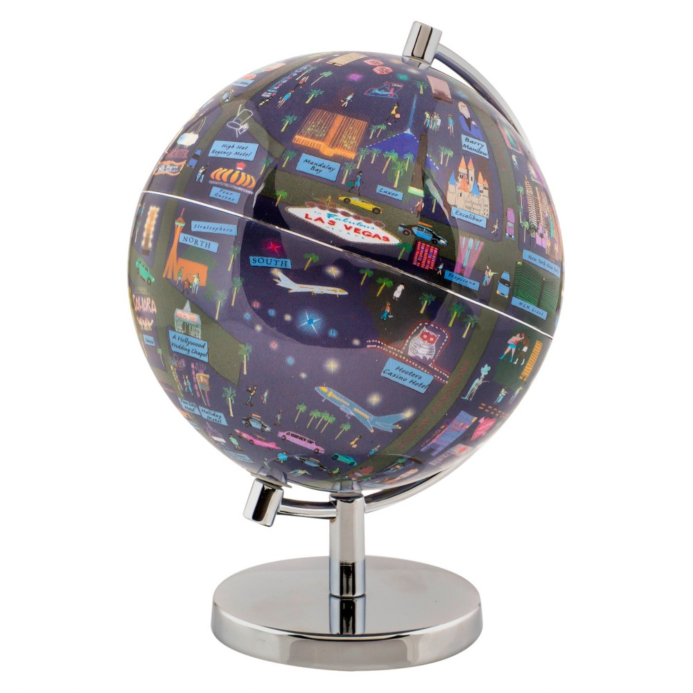 Globee Las Vegas 4 Illustrated Globe, Multi-Colored The Las Vegas globe comes mounted on a chrome silver stand. Each globe come with a 16 page booklet packed with interesting facts about the historic city and tourist sites depicted on the globe. The Las Vegas globe depicts all the major landmarks and tourist sites of the city as well as the major streets and some of the famous characters associated with it. Color: Multi-Colored. Age Group: Adult.