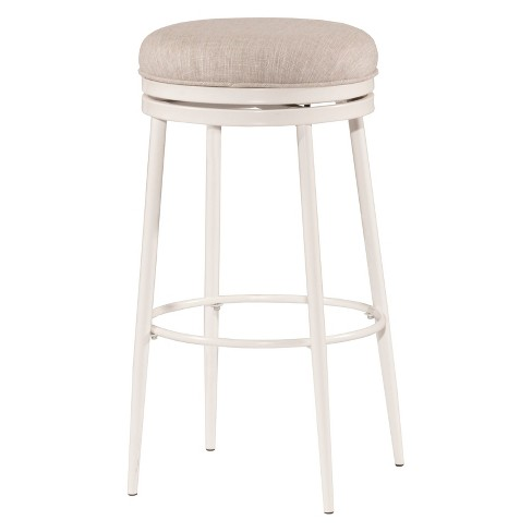 Aubrie Backless 30 Swivel Bar Stool Off White Silver Hilale Furniture