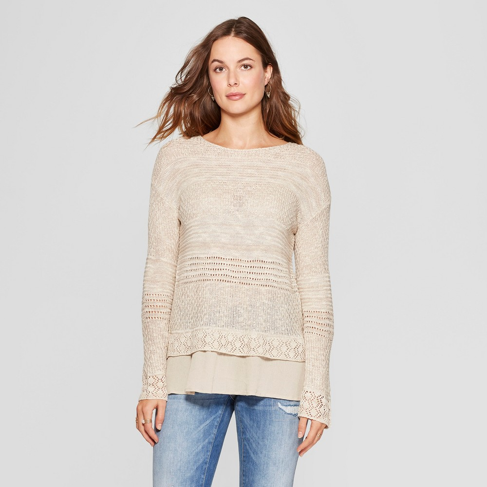 Women's Long Sleeve Mixed Stitch Sweater - Knox Rose Taupe XL, White