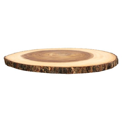 Lipper International Acacia Large Slab Lazy Susan with Bark Rim