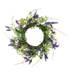 Northlight Lavender and Wild Flower Twig Spring Wreath, Purple 20-Inch