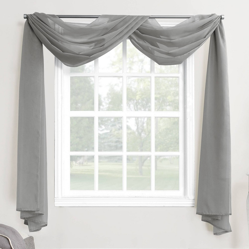 "216""x59"" Emily Sheer Voile Window Curtain Scarf Dark Gray - No. 918"