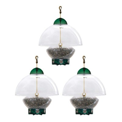 Droll Yankees Big Top Squirrel Proof Adjustable Dome Top Hanging Bird Feeder with 8 Feeding Ports and Easy to Clean Design, 3 Pounds (3 Pack)