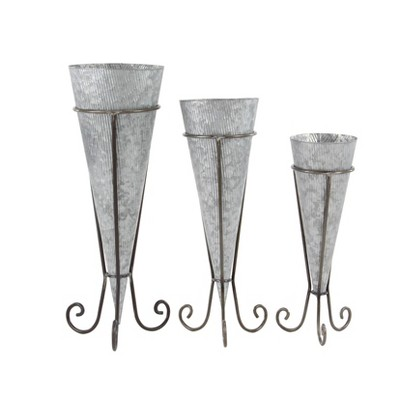 Set of 3 Farmhouse Cone-Shaped Iron Planters with Stand - Olivia & May