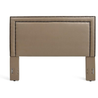 Glenwillow Home Baffin Faux Leather Upholstered Headboard in Taupe, Full/Queen Size