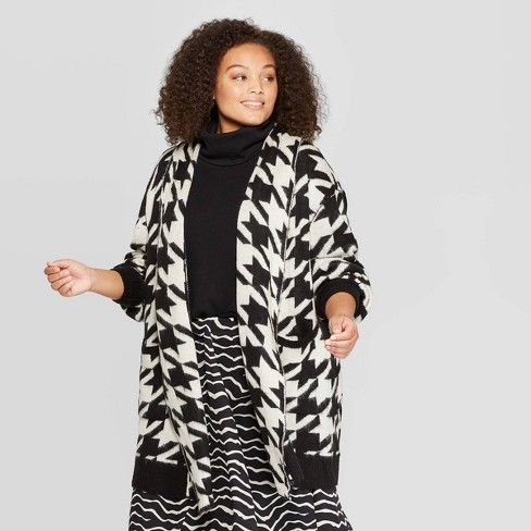 Women\'s Plus Size Houndstooth Print Long Sleeve Open Front Cardigan - Who  What Wear™ Black