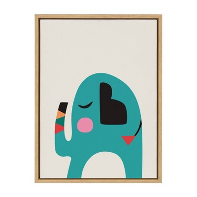 "18"" x 24"" Sylvie Mid Century Modern Baby Elephant Framed Canvas Wall Art by Rachel Lee Natural - Kate and Laurel"