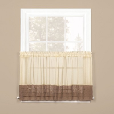 Saturday Knight Ltd Cielo Collection High Quality Modern Brown Tuxedo Pleat Hem Window Tiers & Valance in Multicolor