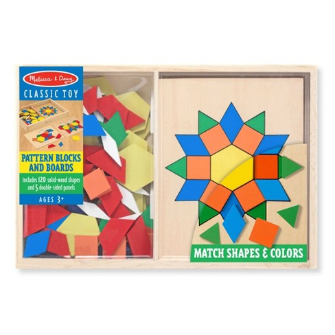Melissa & Doug Pattern Blocks and Boards - Classic Toy With 120 Solid Wood Shapes and 5 Double-Sided Panels - image 1 of 4