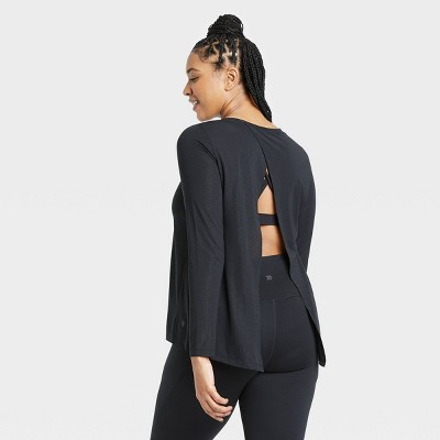 Women's Long Sleeve Open Back T-Shirt - All in Motion™ Black XL