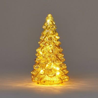 Medium Lit Glass Christmas Tree Decorative Figurine Champagne - Wondershop™