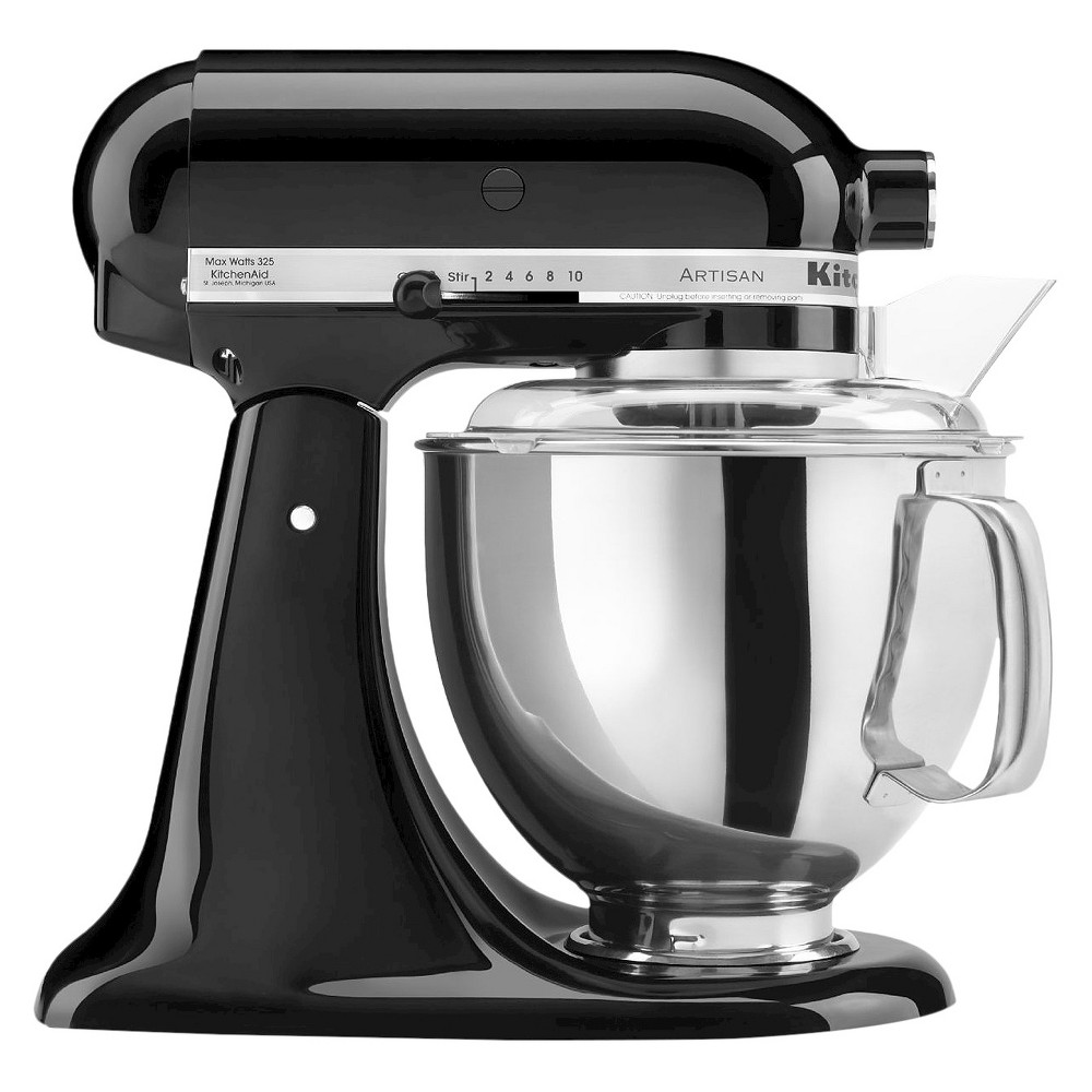 KitchenAid Artisan Series 5 Quart Tilt-Head Stand Mixer- Ksm150, Onyx Black Whether you're looking for a housewarming or wedding gift, or simply looking to add a versatile tool to your own kitchen, this KitchenAid Artisan Stand Mixer is the perfect solution. It features 10 different speed settings, a tilt-head design, and a 5-quart stainless steel mixing bowl that fits a variety of different mixing needs. This electric stand mixer comes with a dough hook, flat beater, wire whisk and pouring shield so you can create a wide range of baked goodies or recipes with ease. The accessory hub on the front of the mixer allows you to buy additional attachments to utilize this mixer even more. This sturdy and durable stand mixer has a 325-watt motor that can handle the thickest doughs or mixing-intense recipes with ease. The sleek and modern design will add a pop of style to any kitchen countertop and will always be at your fingertips when you need to whip up baked goodies or homemade recipes. Color: Onyx Black.