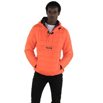 Members Only Mens Pullover Half Zip Puffer Jacket with Hood